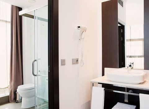 The bathrooms are equipped with amenities.